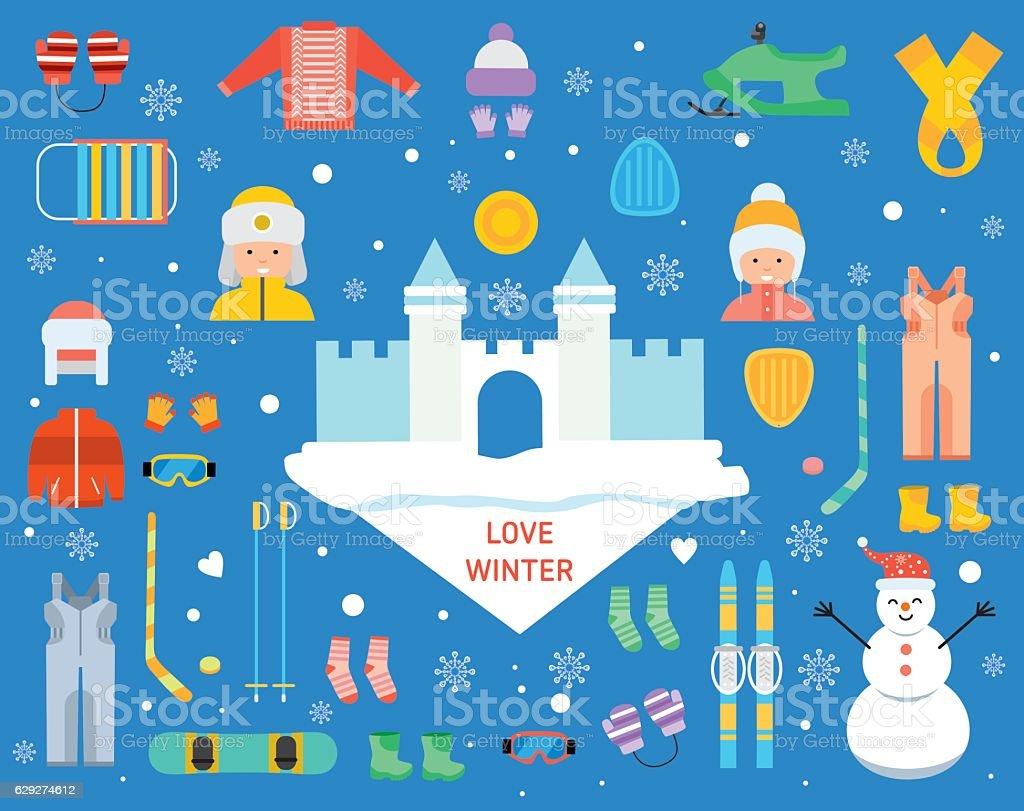 love winter concept banner template flat お祝いのベクターアート