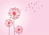 Dandelions with heart shapes, .ai 8 and .eps 8