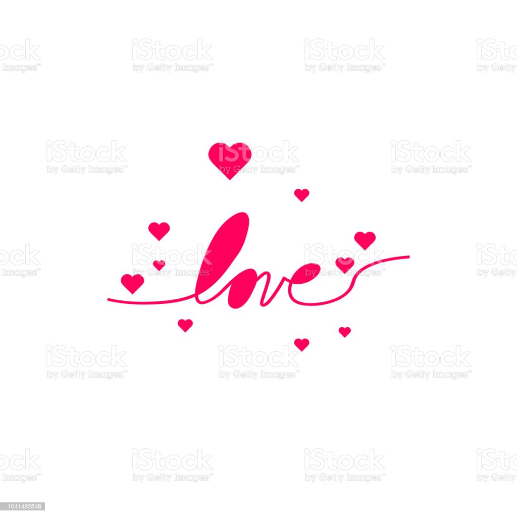 Love With Hearts In Continuous Drawing Lines In A Flat Style In