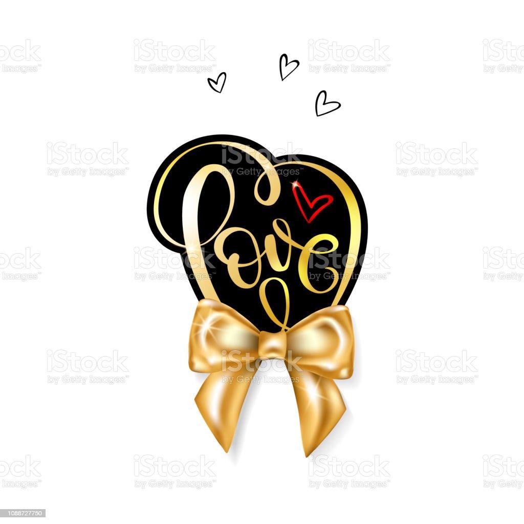Älskar ordet guld handskrivna bokstäver vektorkonstillustration