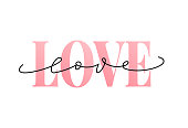 Love word hand drawn lettering. Modern calligraphy. Grunge vector illustration. Design for print.