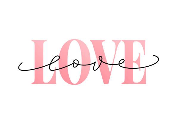 stockillustraties, clipart, cartoons en iconen met woord van de liefde hand getekende letters. moderne kalligrafie. grunge vectorillustratie. ontwerpen voor afdrukken. - liefde