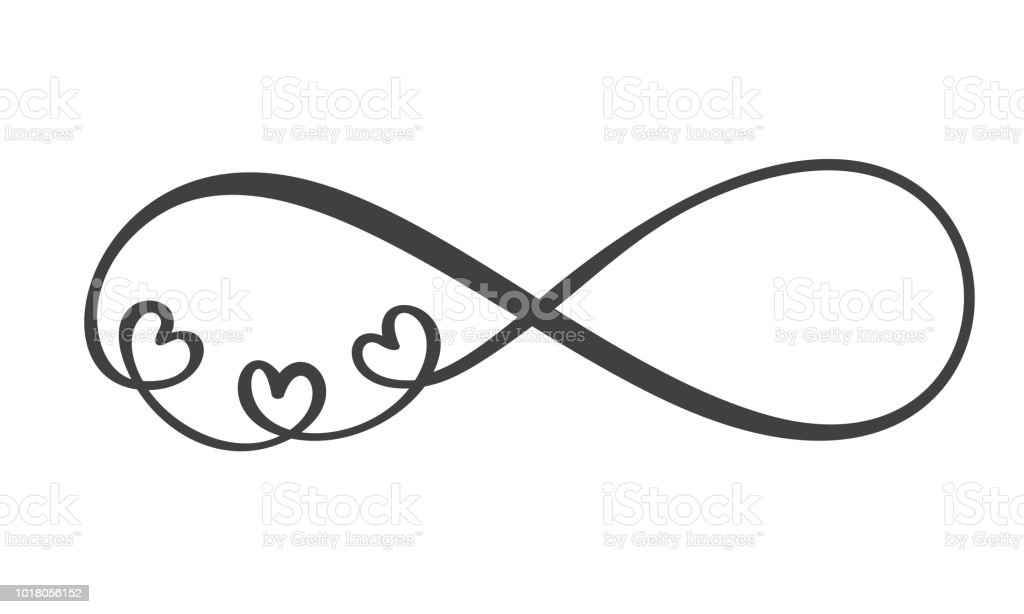 love word in the sign of infinity sign on postcard to valentine s
