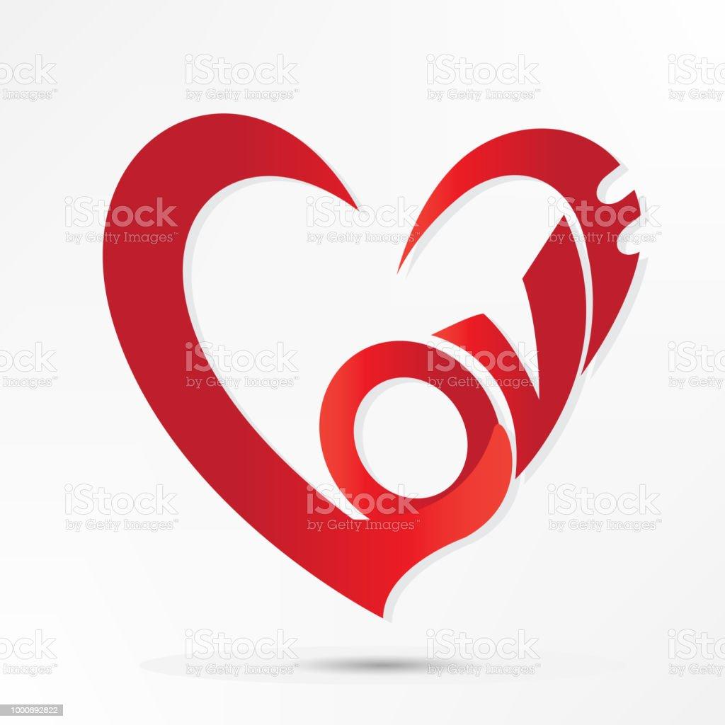 Ilustración de Amor Palabra San Valentín Corazón Diseño Logo Vector ...