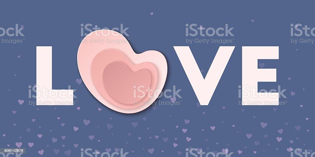 Ilustración De Love Word With Pink Paper Heart Card Y Más Banco De