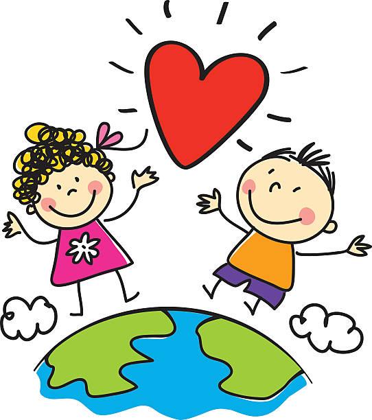 Liebe, Frieden in der Welt, Kinder-Abbildung – Vektorgrafik