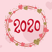 2020 love year. Hand drawn heart sketch. Greeting card. Gold and pink colors. Lettering. Poster or banner. Design template