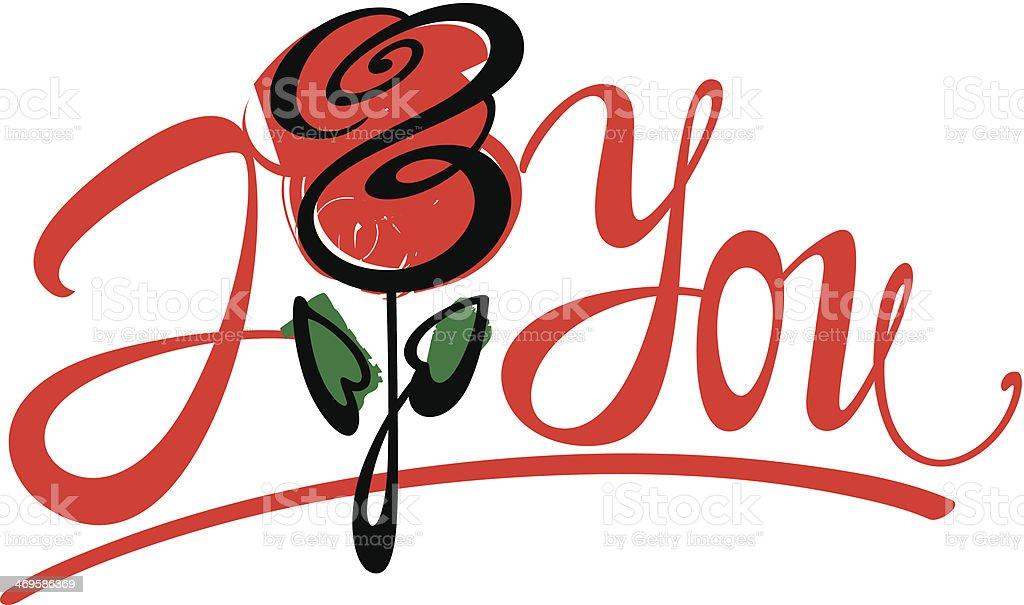 I Love Youfrase Em Inglês E Rosa Vermelha Arte Vetorial De Stock E