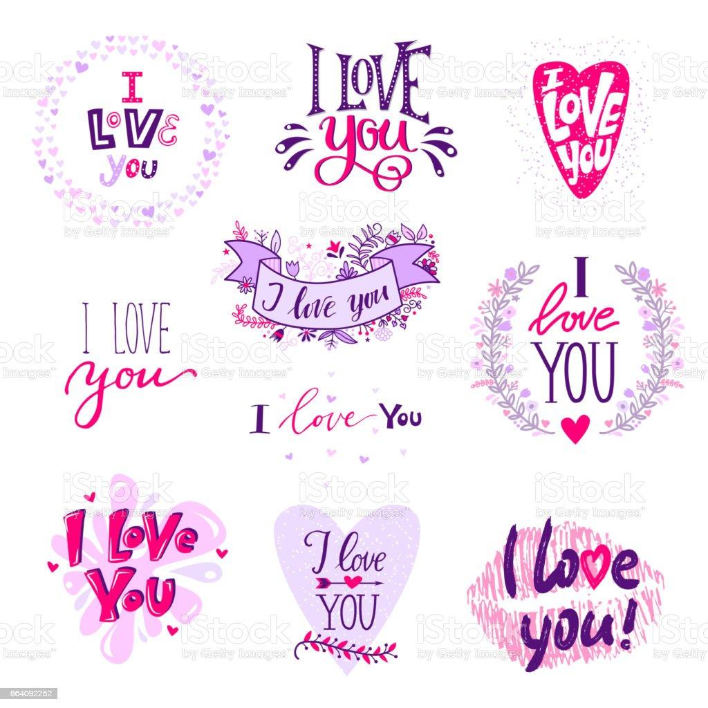 Ilustração De Eu Te Amo Caligrafia Texto Frases Dia Dos Namorados Ou
