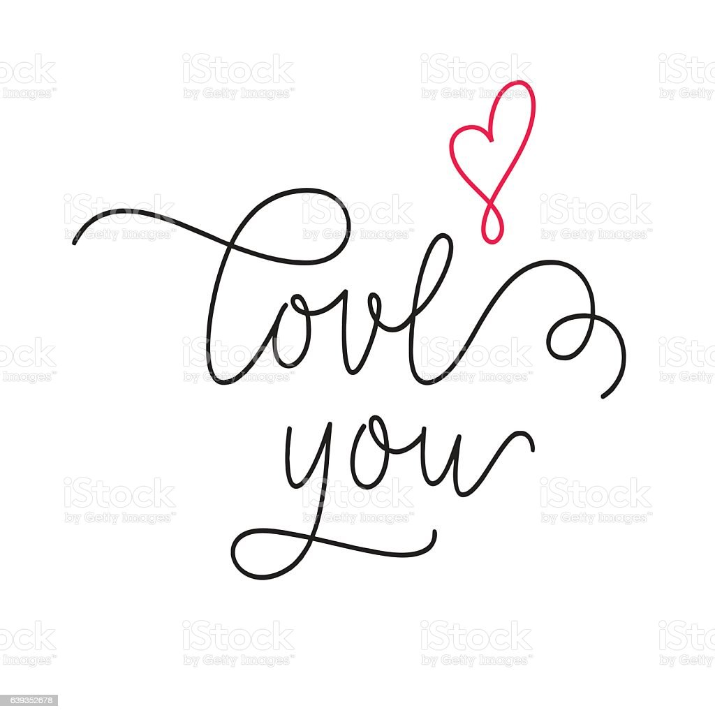 Love you calligraphy with heart stock vector art more
