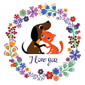 Cute Card with Dog and Cat in love. Vector romantic invitation. Valentines day cartoon background. RGB, EPS 10.