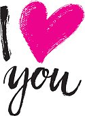 Hand written I love you phrase. Vector card with sign I love you.