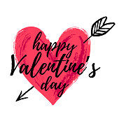 Happy Valentine's day vector card. Happy Valentine's Day lettering. Hand drawn heart.