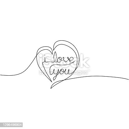 istock I love you continuous one line drawing in heart symbol. Minimalism design. Vector illustration. 1296496904