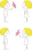 Vector illustration - Giving flowers to your love.