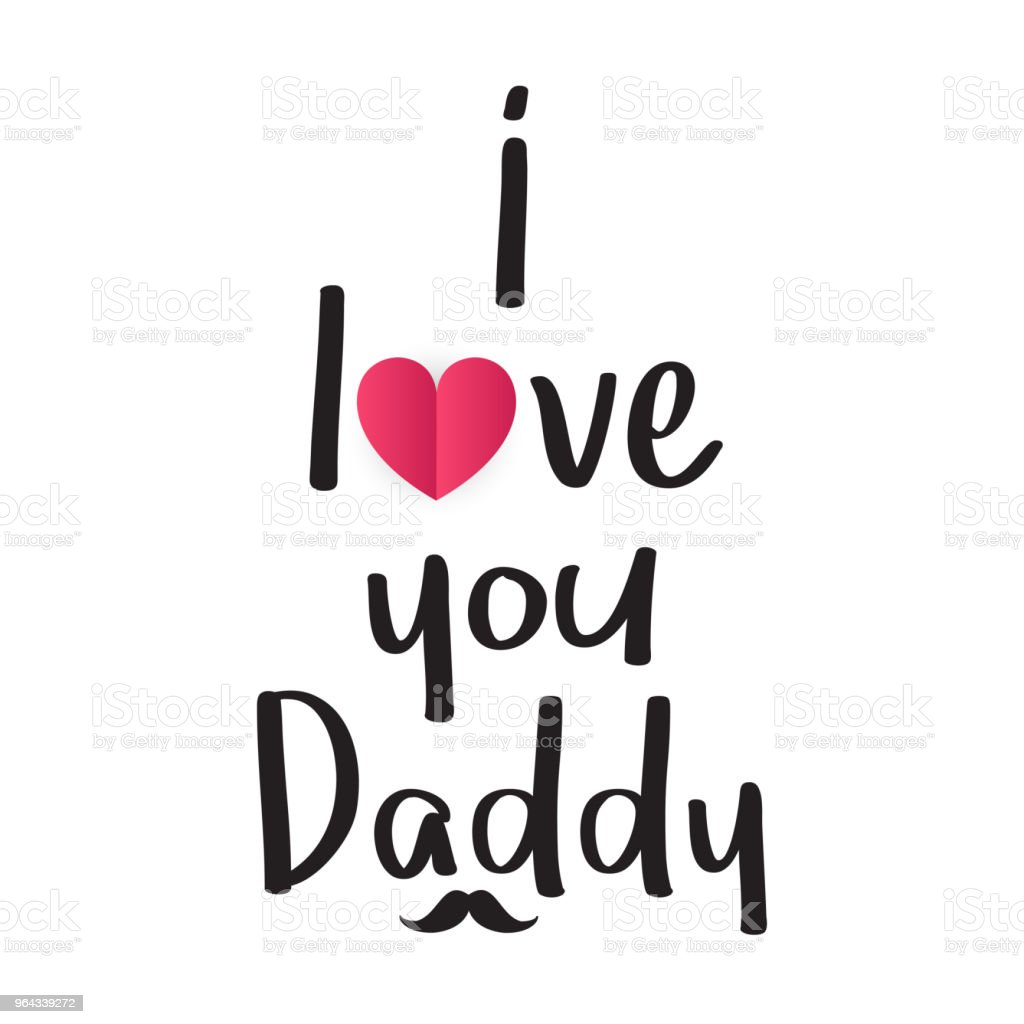 I love you daddy with cute heart fathers day card vector - I love you daddy download ...
