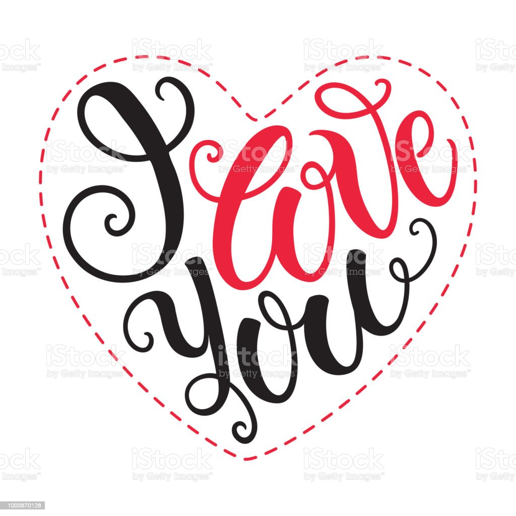 Download I Love You Doodle Heart Shaped Hand Lettering Romantic ...