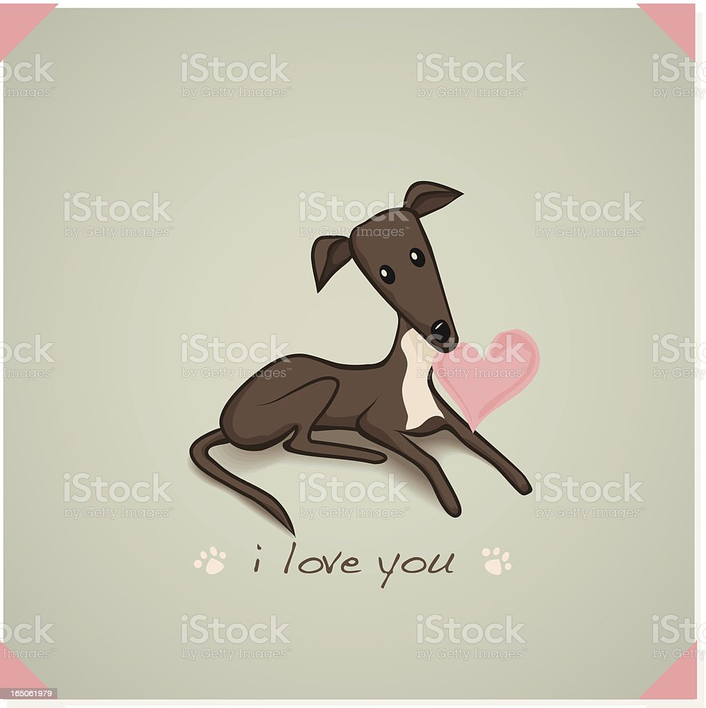 I love you from a greyhound vector art illustration