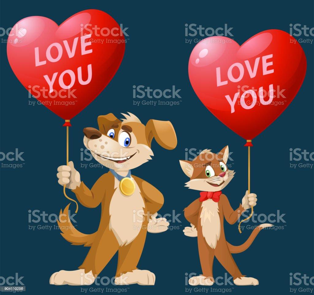 Ilustracion De Te Quiero Dibujos Animados Graciosos Perros Y Gatos