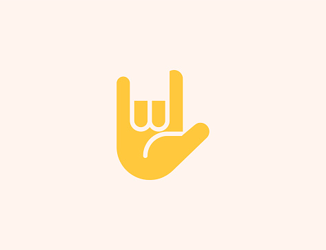 Love You Gesture vector icon. Isolated I Love You Hand Sign flat colored emoji symbol - Vector