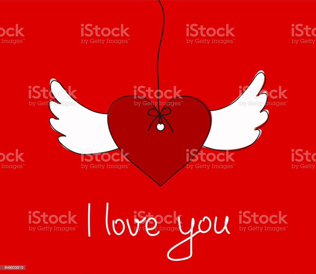 I Love You Greeting Card With Hanging Heart Wings Stock Vector