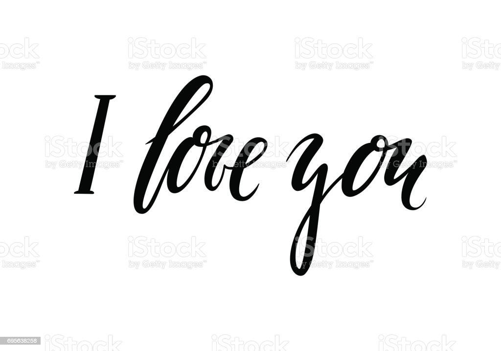 Te quiero. Mano dibuja Letras de lápiz caligrafía y pincel creativo - ilustración de arte vectorial