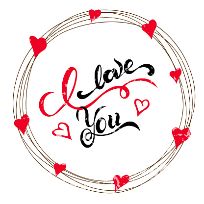 I love you - hand drawn lettering