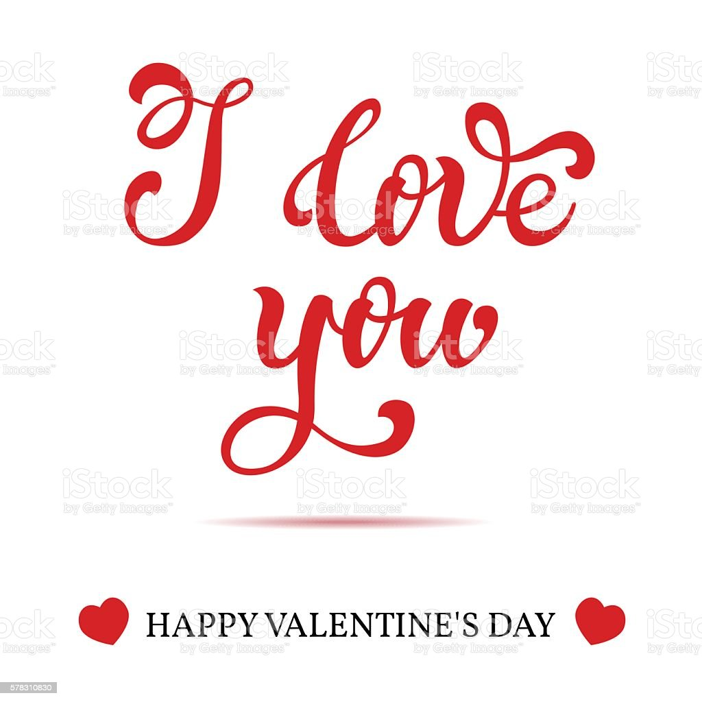 i love you hand lettering greeting card happy valentines day thank