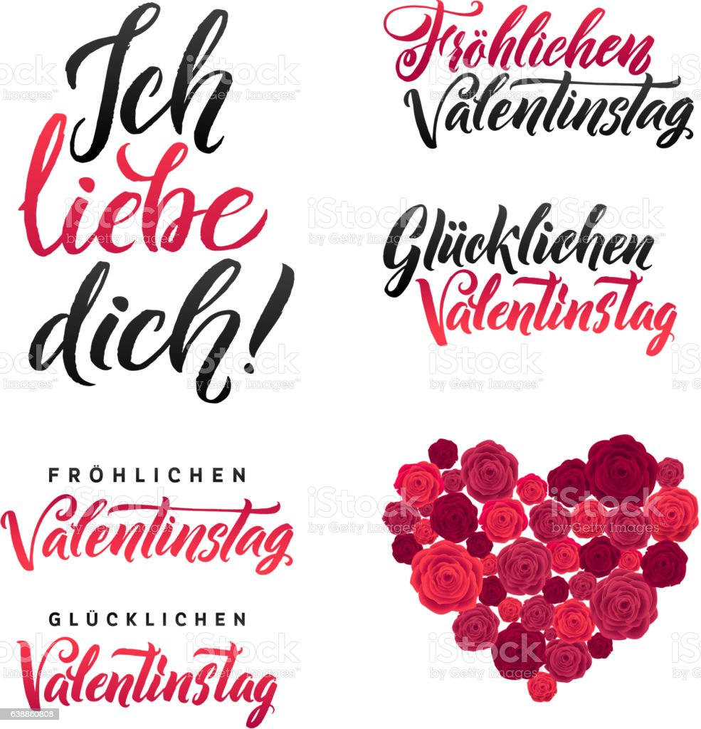 happy valentines day german black and pink royalty free stock