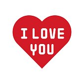 I love you heart vector, Valentine and love related flat style icon