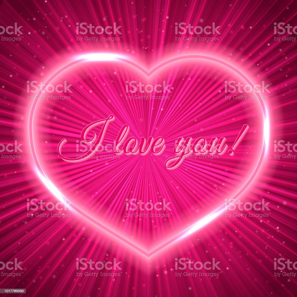 I Love You Hot Pink Retro Greeting Card With Neon Heart On Shiny