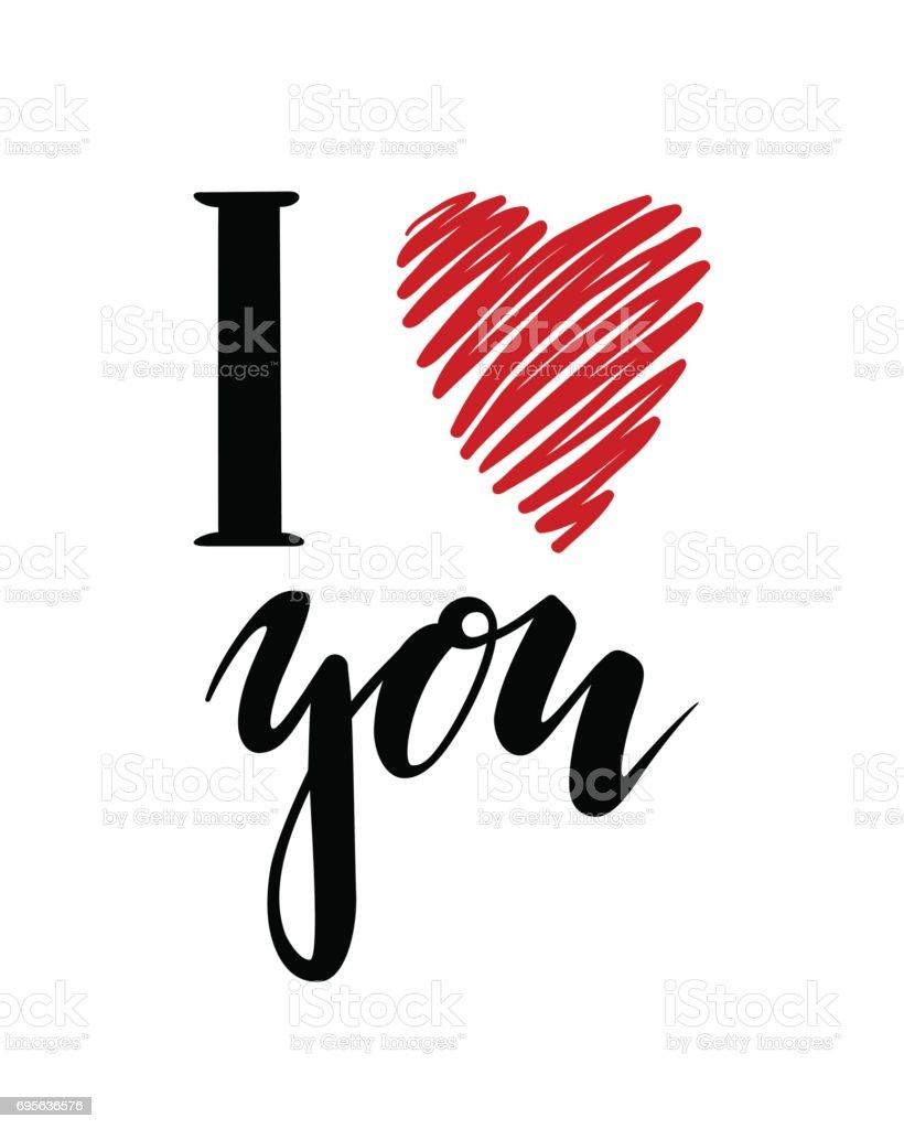 Te quiero. Corazón te. inscripción mano dibujado letras aisladas sobre fondo blanco. - ilustración de arte vectorial