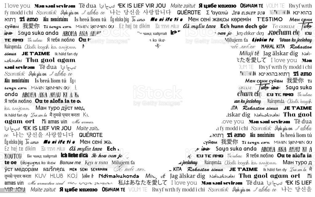 Ich Liebe Dich In Verschiedenen Sprachen Vektorgrußkarte Mit Herz ...
