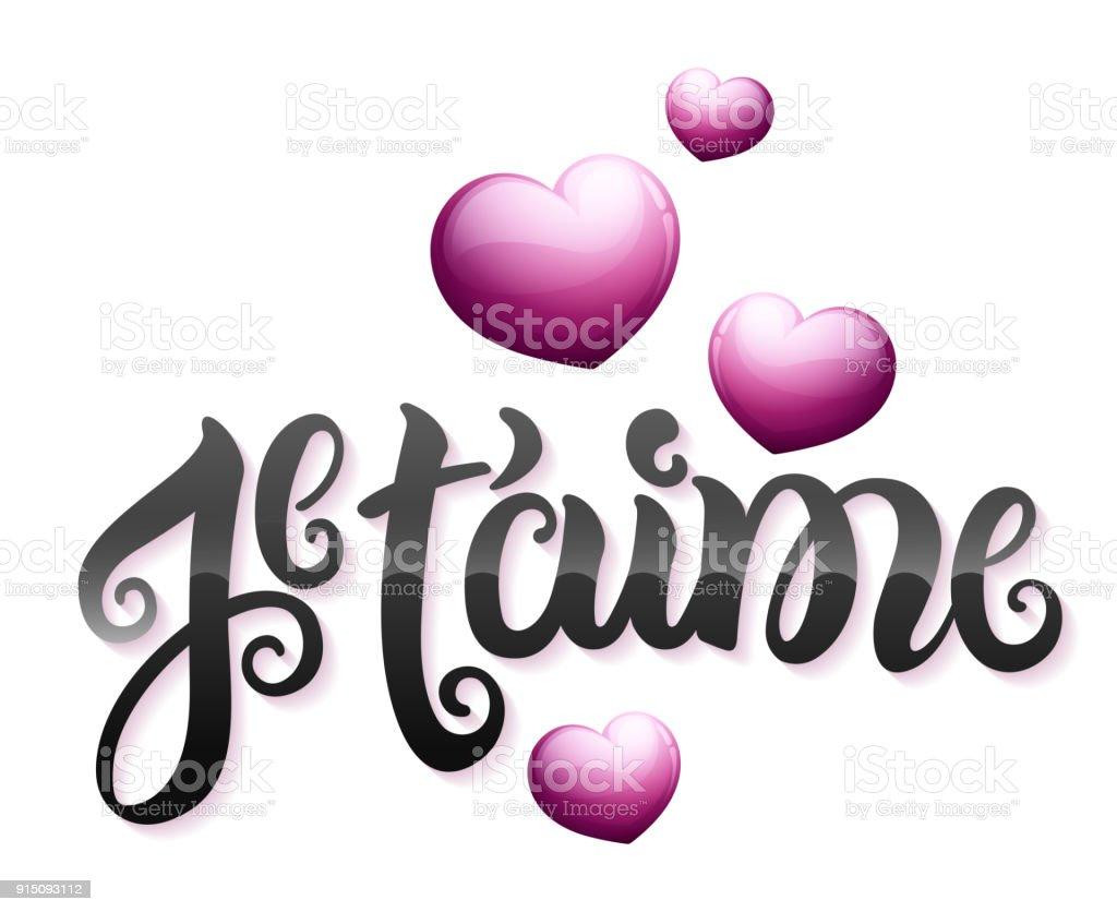 Ilustración De Te Amo En Francés Je T Aime Y Más Vectores