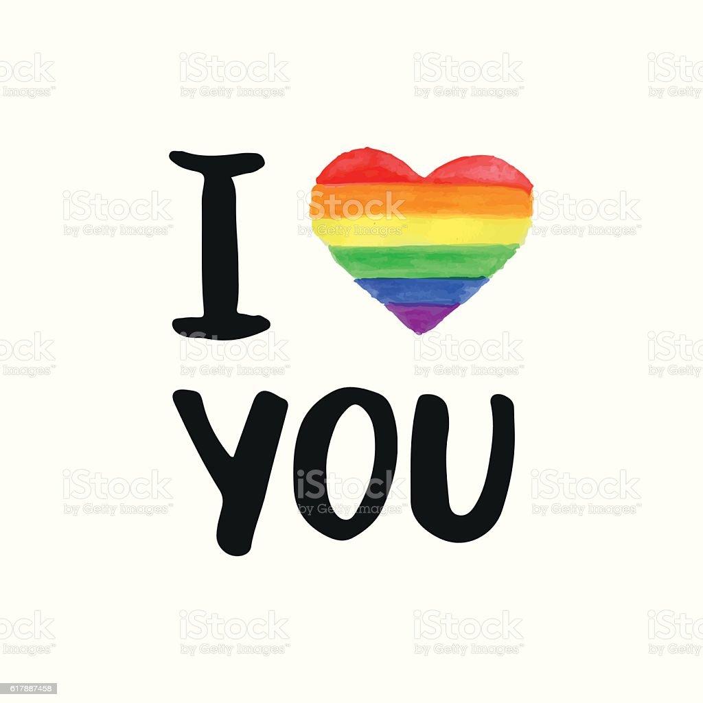 I love You. Inspirational Gay Pride poster - ilustración de arte vectorial