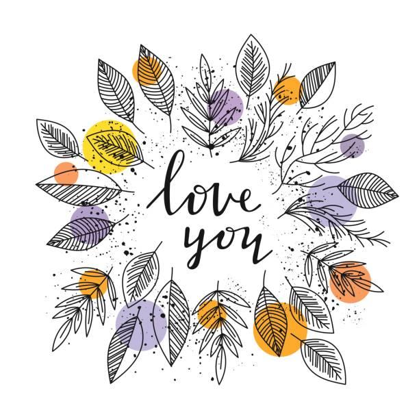 Bекторная иллюстрация Love you - lettering and leafs frame vector