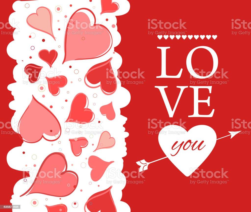 Love you lettering Greeting Card on red back. Vector illustration vector art illustration