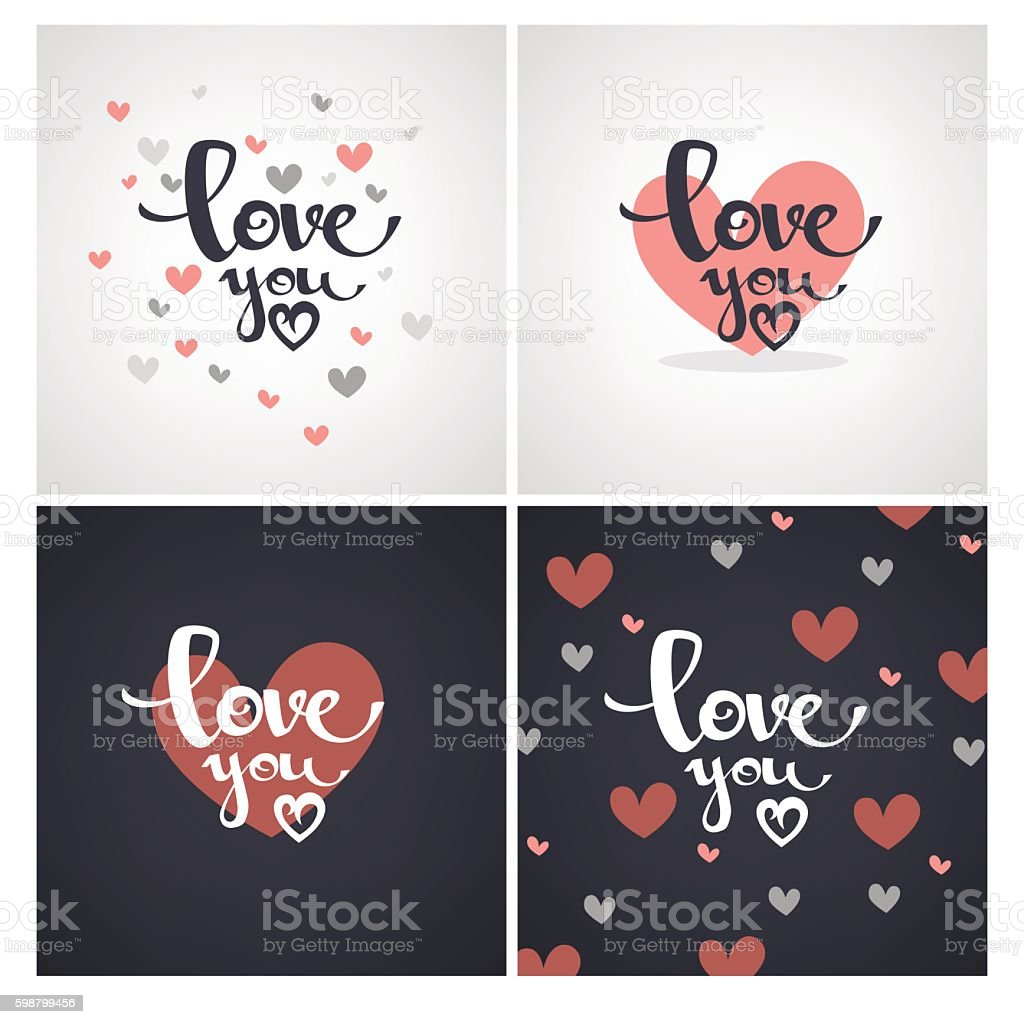 love you lettering vector designs for saint valentine cards