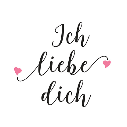 Ich Liebe Dich Lettering Stock Illustration - Download