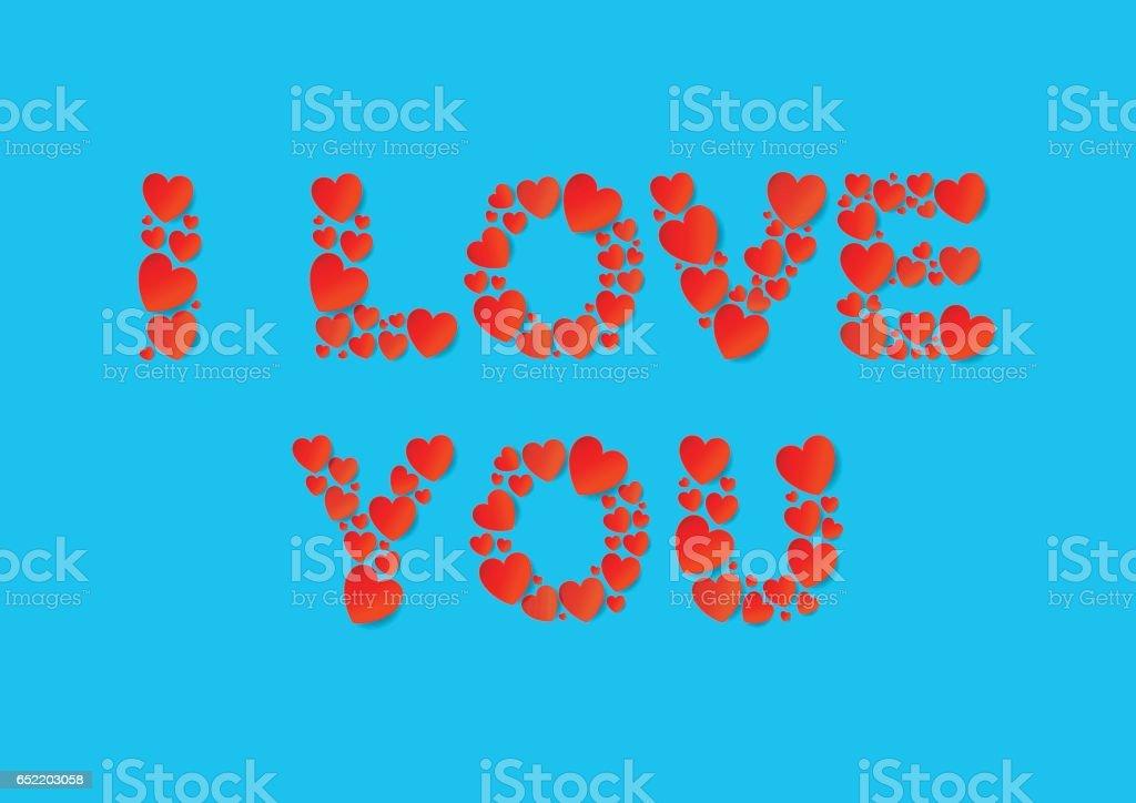 Ilustracion De I Love You Letras Planas Pone Con Corazones De Papel