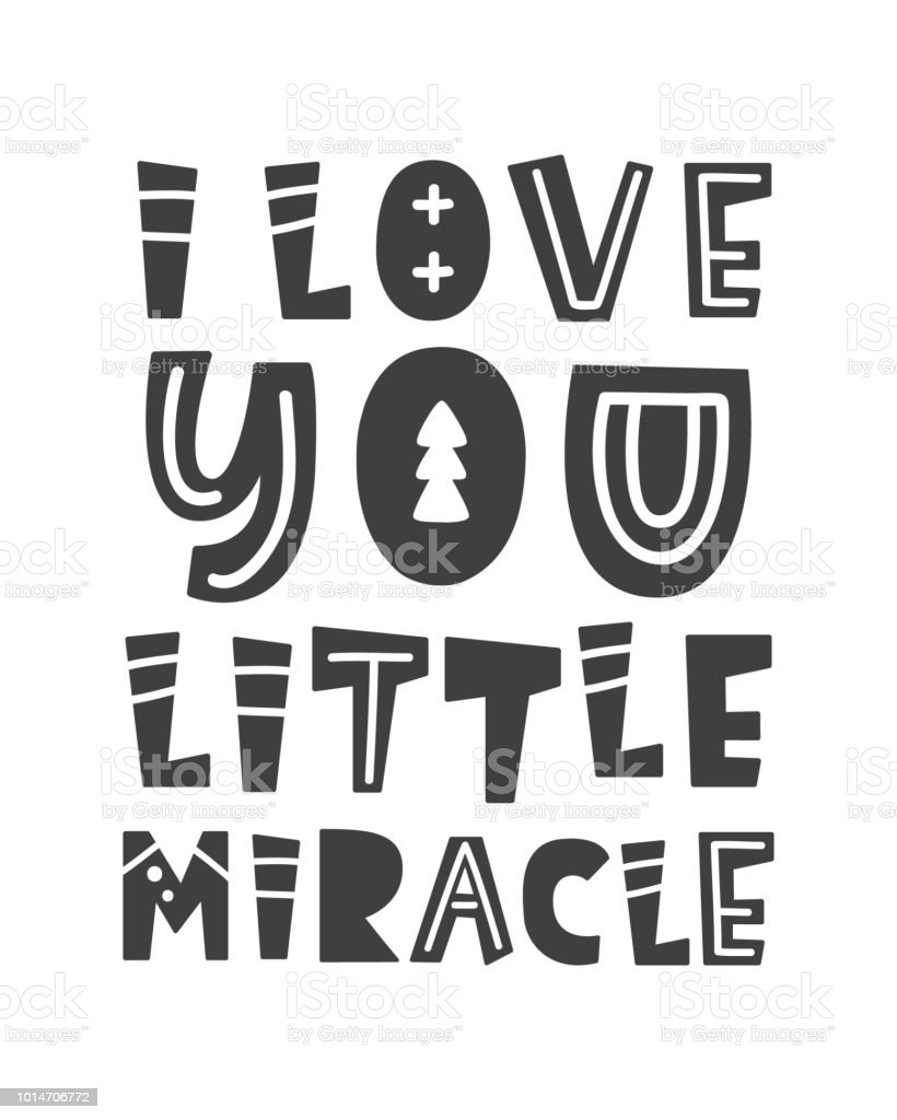 I Love You Little Miracle Scandinavian Style Childish Poster Stock Illustration Download Image Now Istock