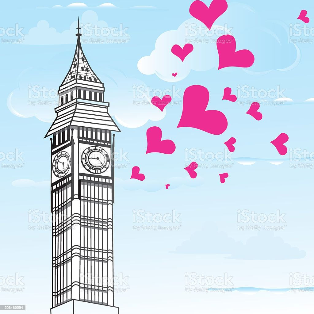 I love You London Poster Design and hearts vector illustration vector art illustration