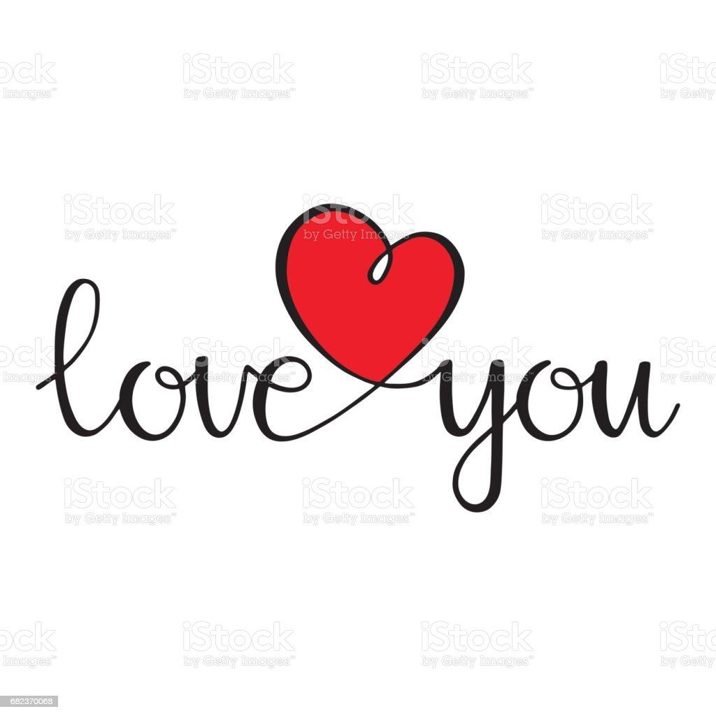 Jag älskar dig. Älskar lockigt kalligrafi tecken med hjärta royaltyfri jag älskar dig Älskar lockigt kalligrafi tecken med hjärta-vektorgrafik och fler bilder på affisch
