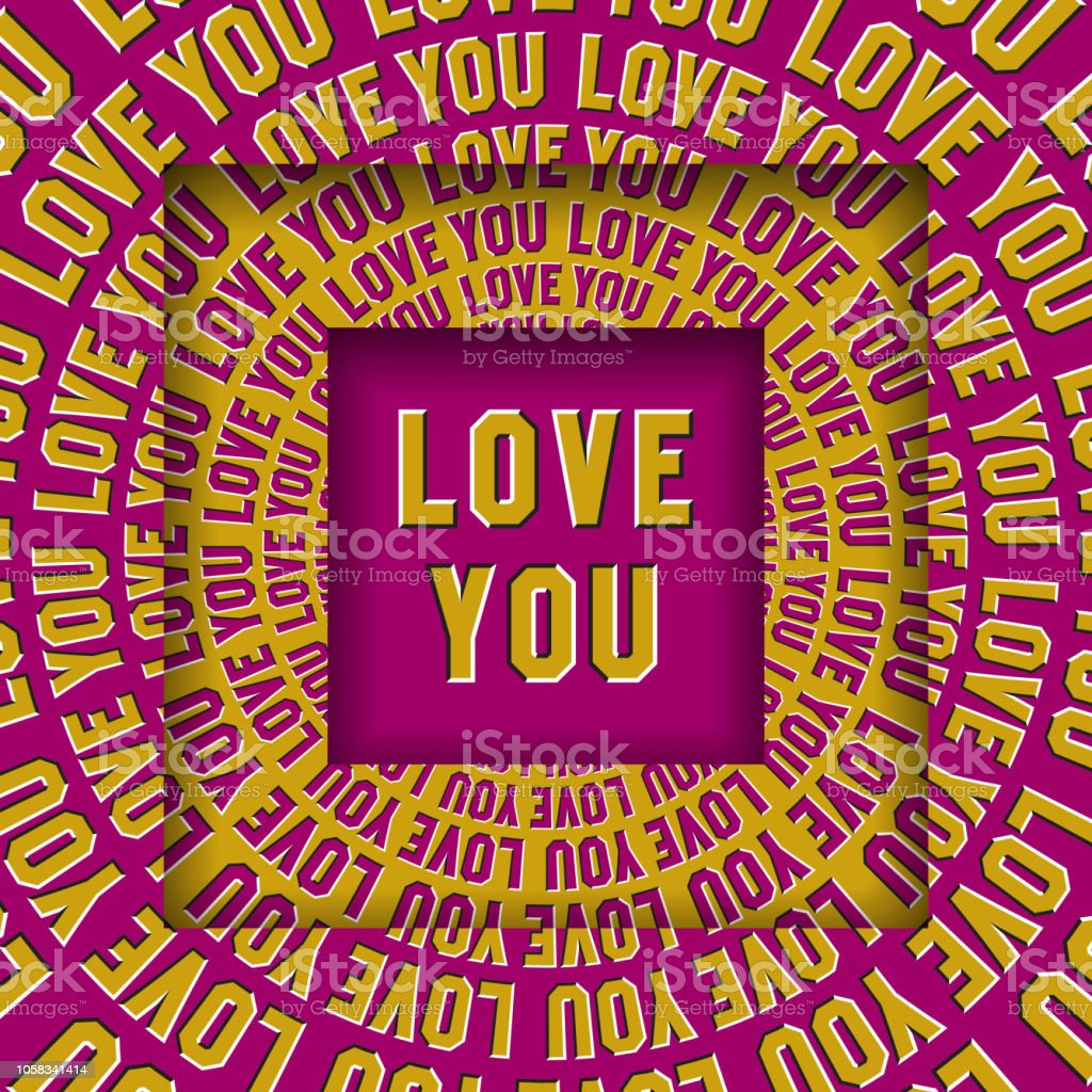 Love You Message In Square Frames With A Moving Circular Yellow Pink