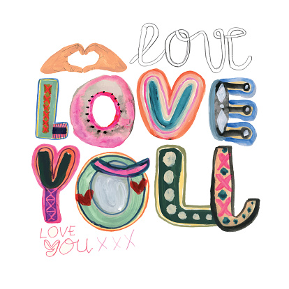 Love you message with hand drawn letters