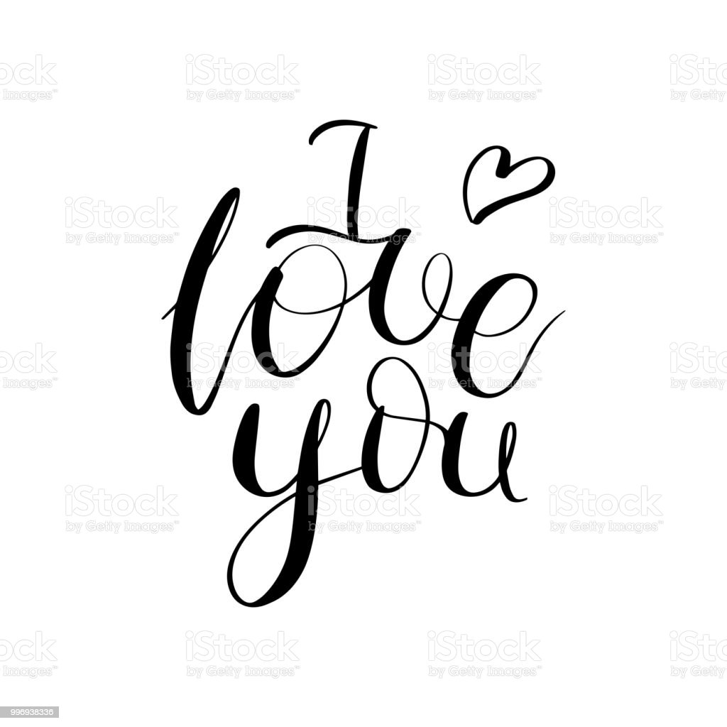 Download I Love You Modern Brush Calligraphy Romantic Lettering ...