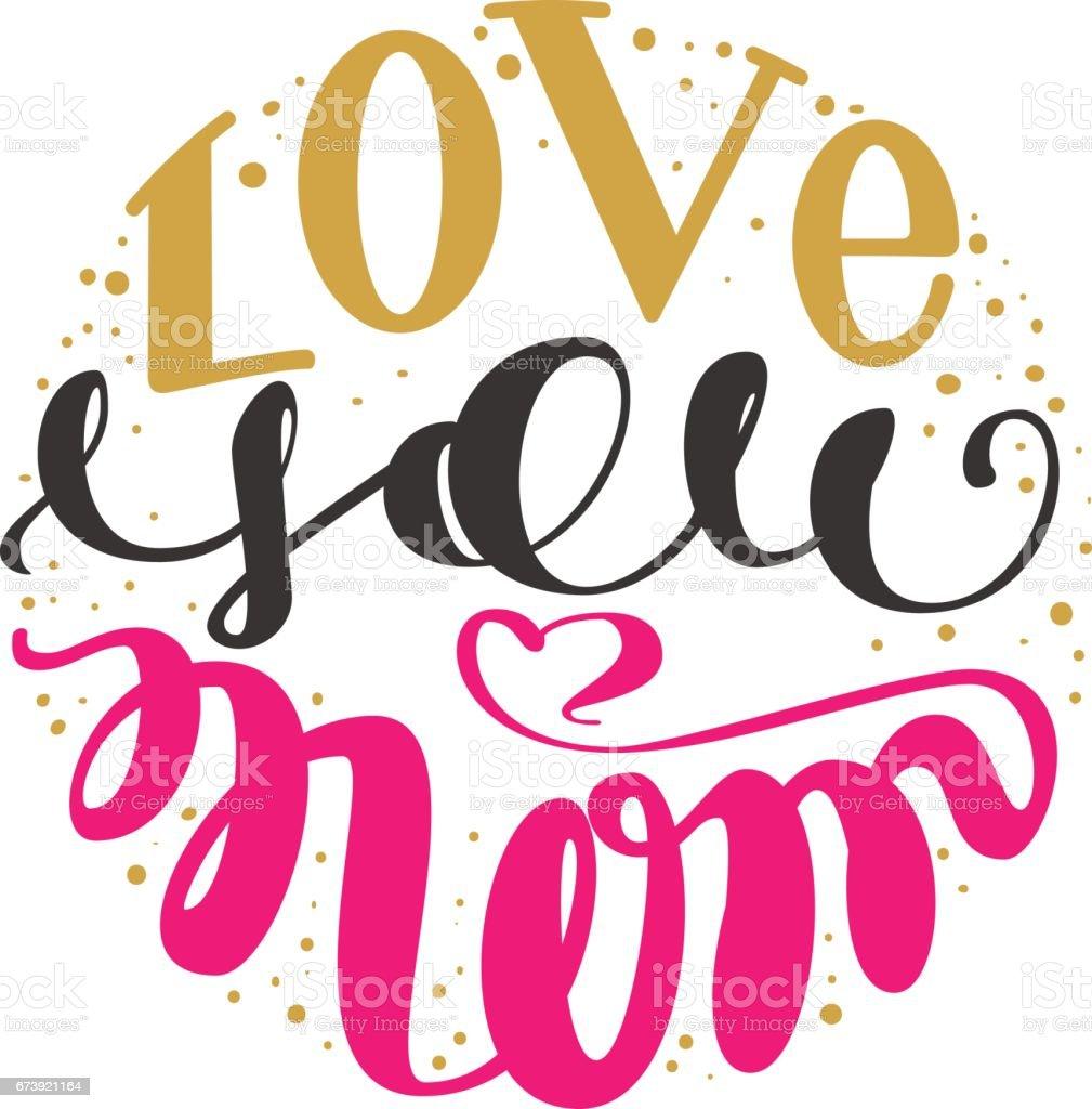 Love you mom. Handwritten lettering text for greeting card for mother day love you mom handwritten lettering text for greeting card for mother day - arte vetorial de stock e mais imagens de amor royalty-free