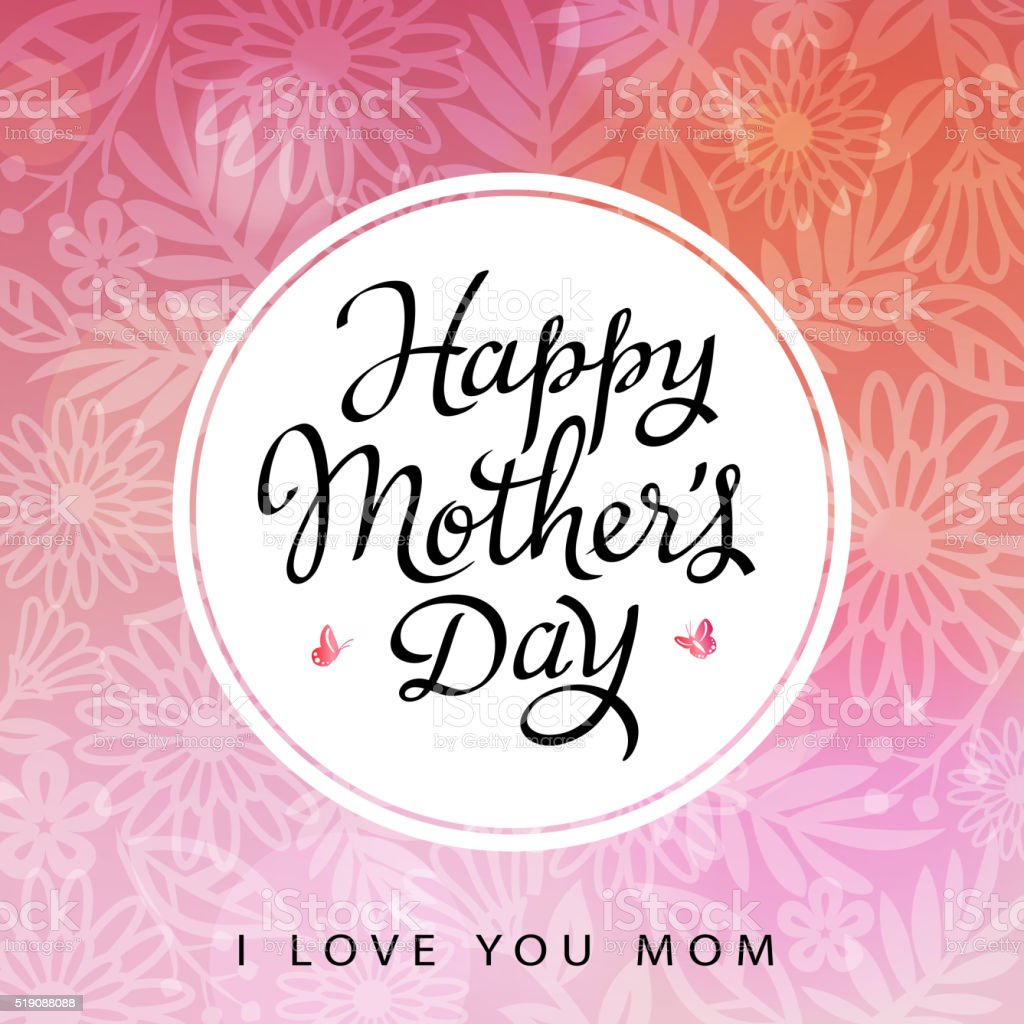 I Love you Mom vector art illustration