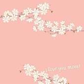 I love you mom! Cheery blossom background for Mother's Day!