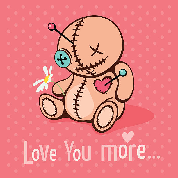 Love you more Vector illustration with cute voodoo doll in unrequited love voodoo stock illustrations
